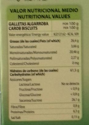 Galletas con algarroba - Nutrition facts - es