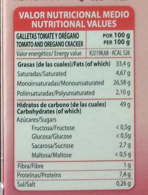 Galletas con tomate y orégano - Información nutricional