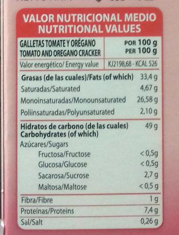 Galletas con tomate y orégano - Información nutricional - es