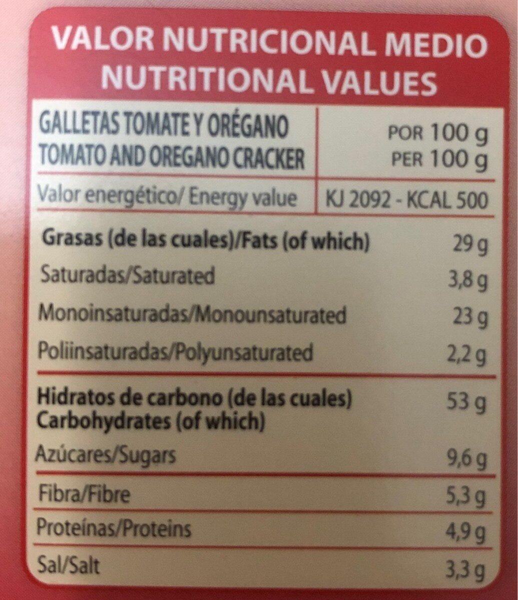 Galletas con tomate y orégano - Informació nutricional - es