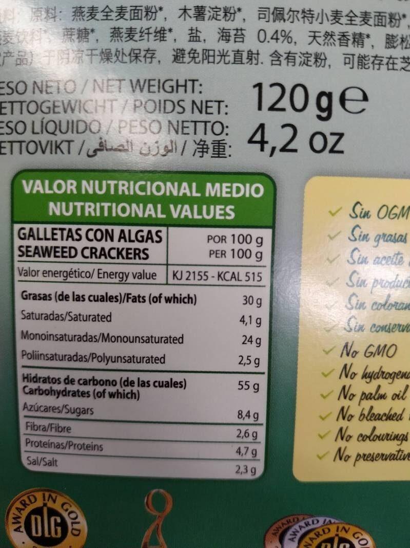 Galletas con Algas - Información nutricional - es