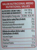 Delizias con Espelta Cúrcuma y Canela - Informació nutricional