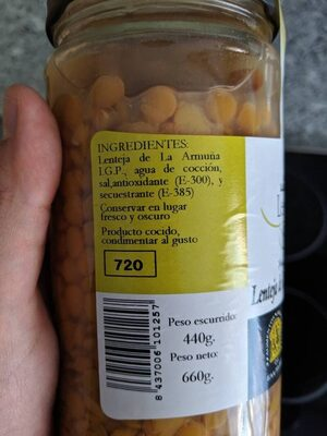 Lentejas cocidas de la armuña tierra de sabor - Ingredients