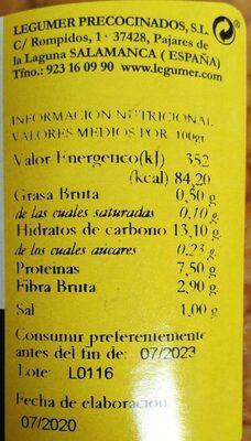 Lentejas cocidas de la armuña tierra de sabor - Nutrition facts