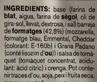 Pizza 5 formatges - Ingredientes - ca