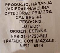 Naranjas - Informations nutritionnelles