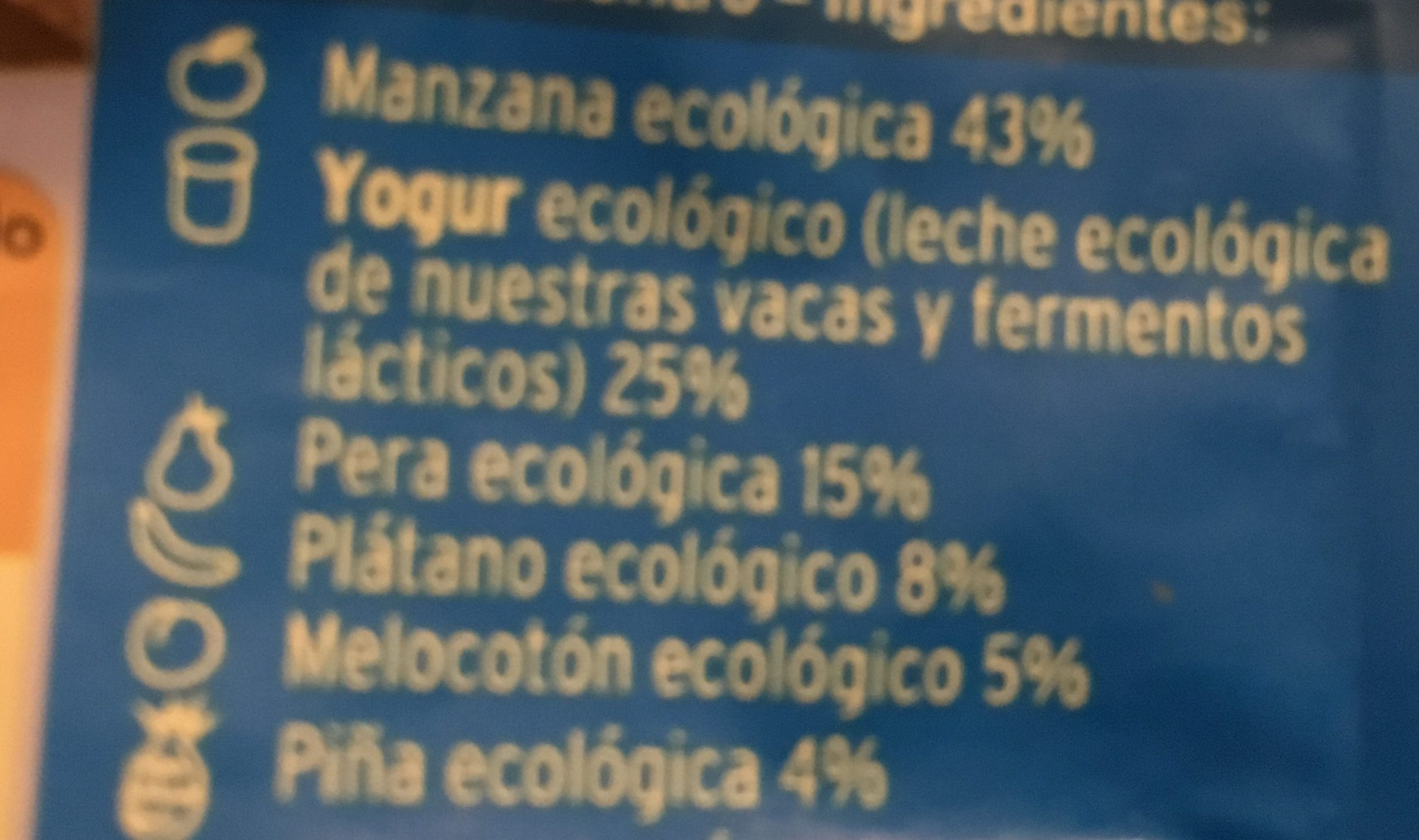 Multifrutas + Yogur Ecológico - Ingrédients