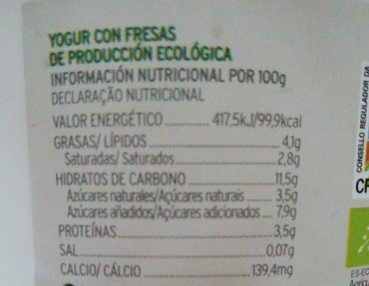 Yogur griego sirtaki de fresas - Informations nutritionnelles - es