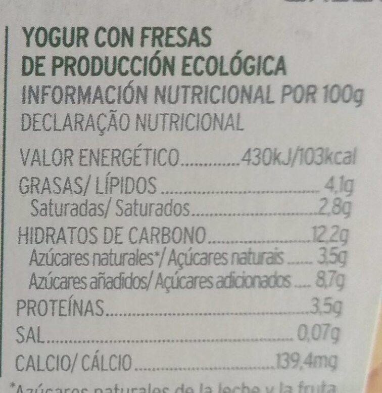 Yogur con fresas - Información nutricional - es