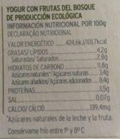 Yogur con frutas del bosque - Informations nutritionnelles - es
