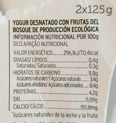 Yogur desnatado 0% con frutas del bosque - Informations nutritionnelles - es