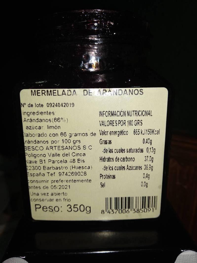 Mermelada de Arándanos - Ingredientes