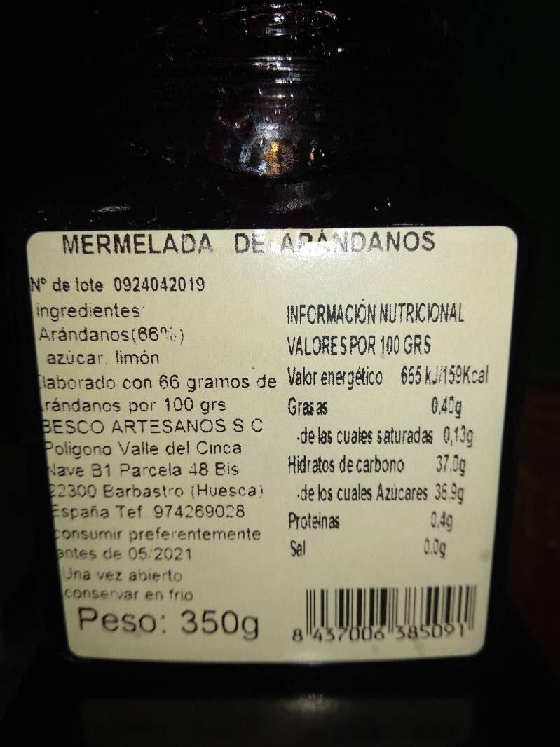 Mermelada de Arándanos - Información nutricional