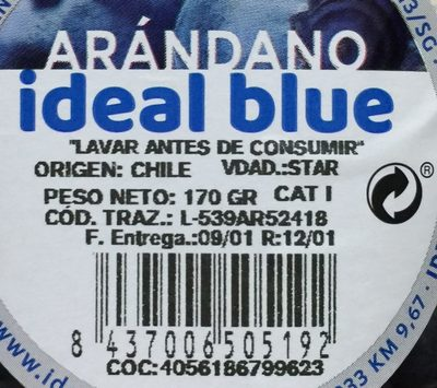 Arándanos ideal blue - Ingredientes