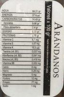 Arándanos - Informació nutricional