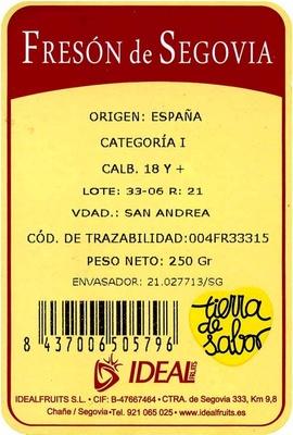Fresón de Segovia - Ingredients - es