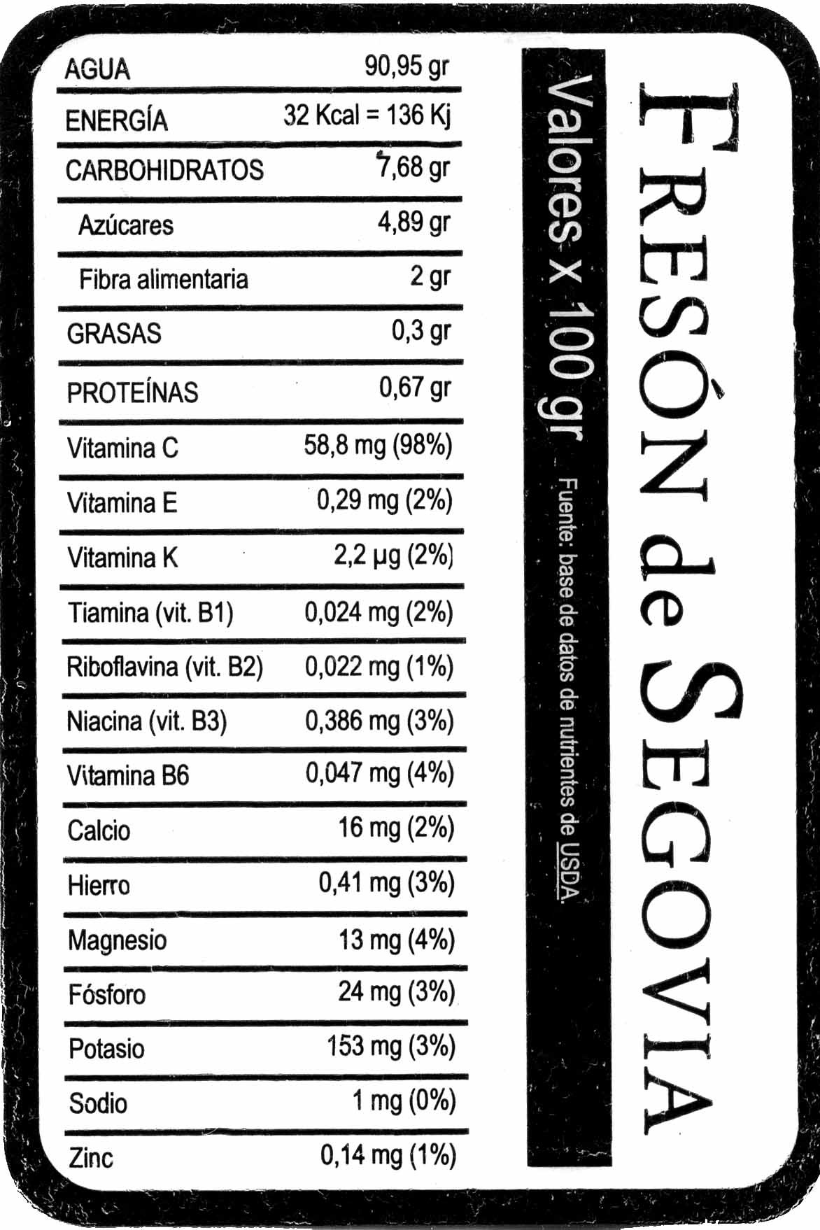 Fresones - Nutrition facts