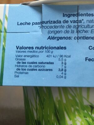 Yogur receta griega Naturlan - Nutrition facts