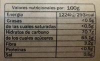 Mix frutas confitadas - Información nutricional - es