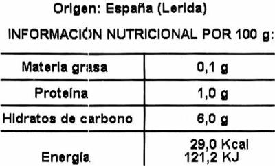 Calçots asados - Informations nutritionnelles - es