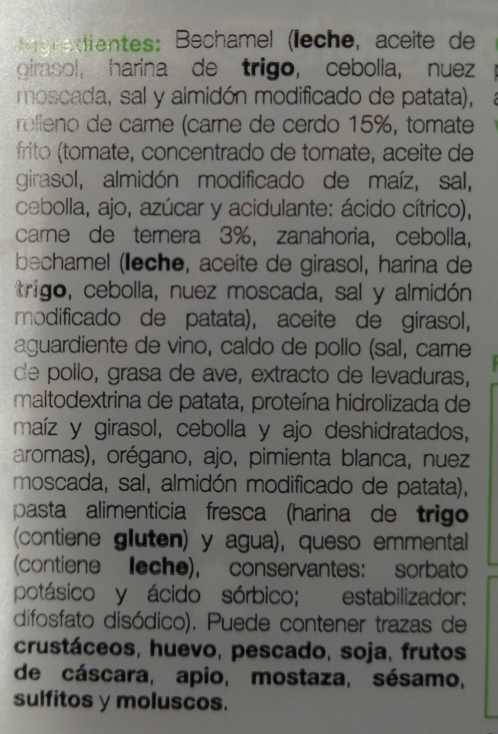 Lasaña artesana de carne ración - Ingredients - es