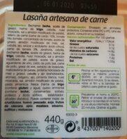 Lasaña artesana de carne ración - Informació nutricional - es