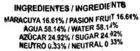 """Helado de hielo """"La Quindianita"""" Maracuyá - Ingredients"""
