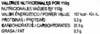 """Helado de hielo """"La Quindianita"""" Maracuyá - Informació nutricional"""