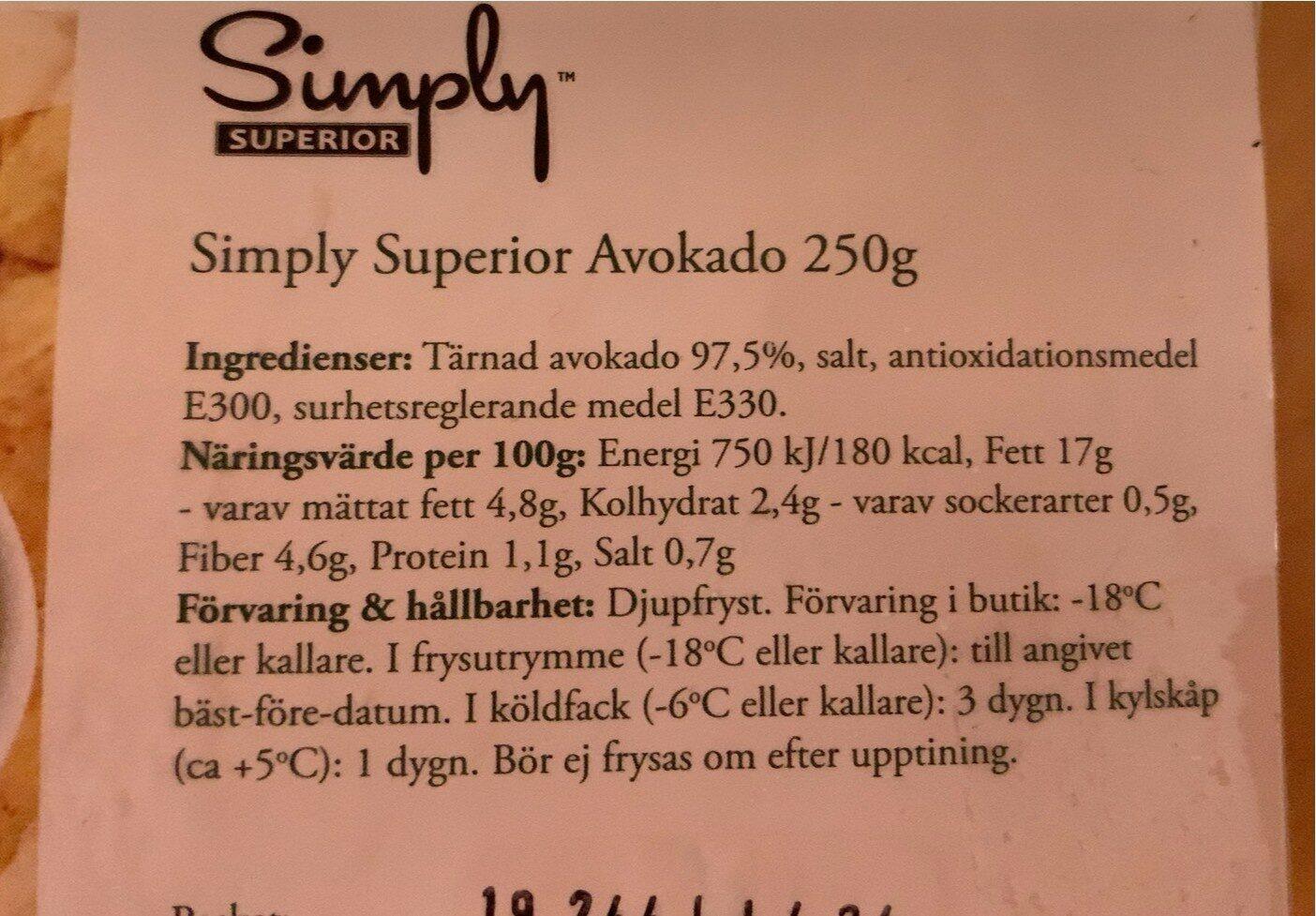 Simply superior avokado - Información nutricional - es