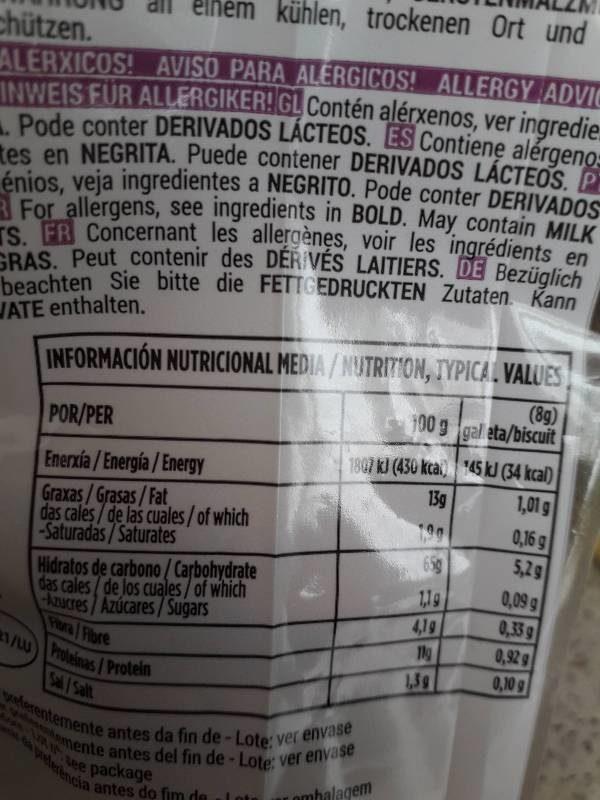 Galletas mariñeiras - Informations nutritionnelles