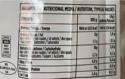 Mariñeiras de espelta - Información nutricional - es