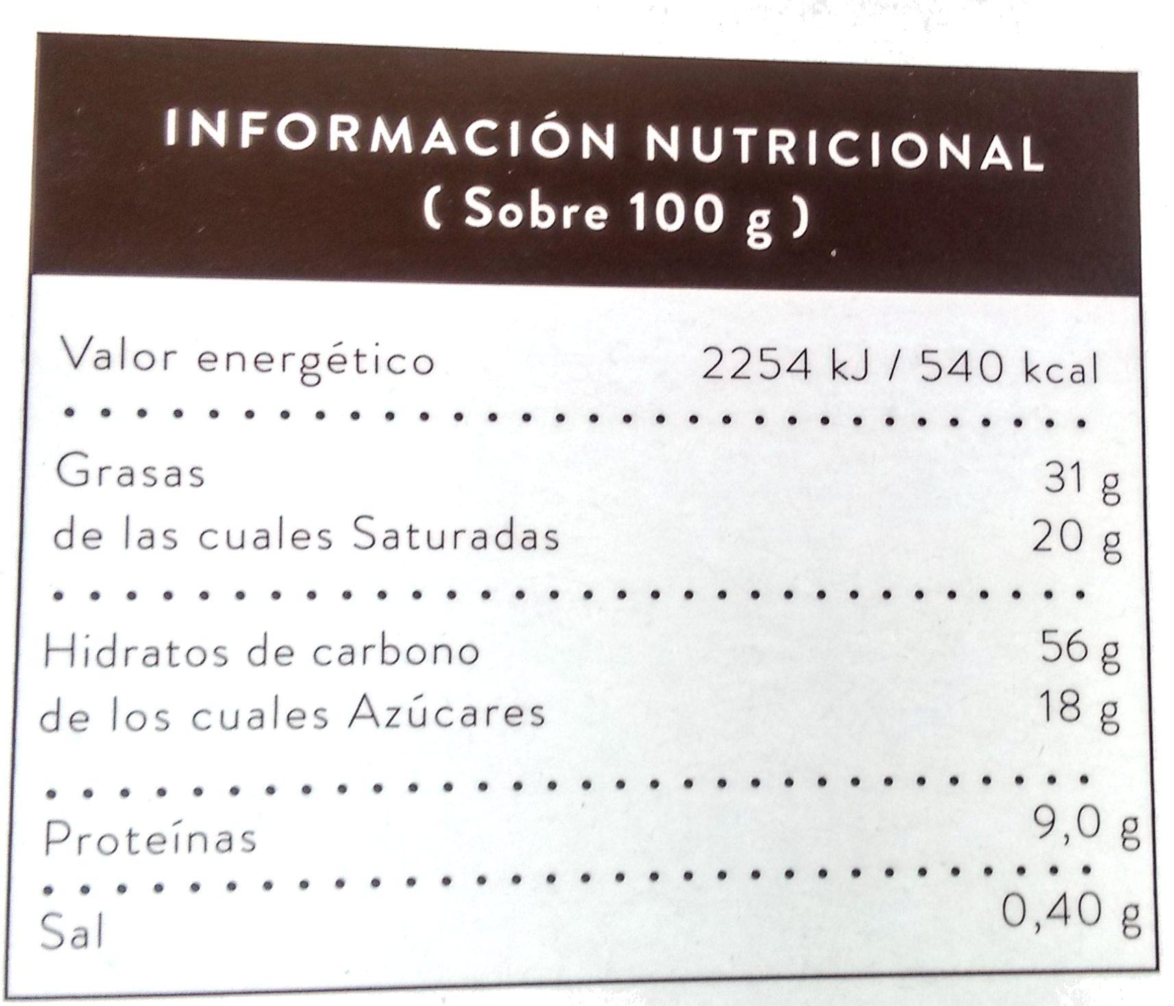 Pastas de té constelación café - Informations nutritionnelles - es