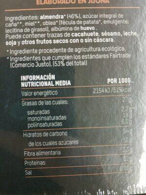 Turrón duro de Almendra - Información nutricional - es