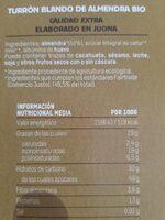 Turrón blando de almendra - Información nutricional - es