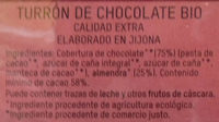 Turrón de chocolate bio - Ingredients