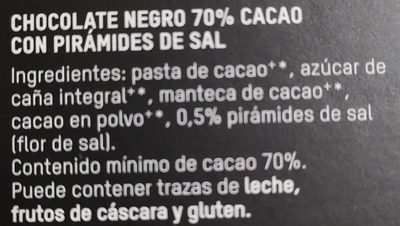 Chocolate negro 70% sal bio - Ingredients