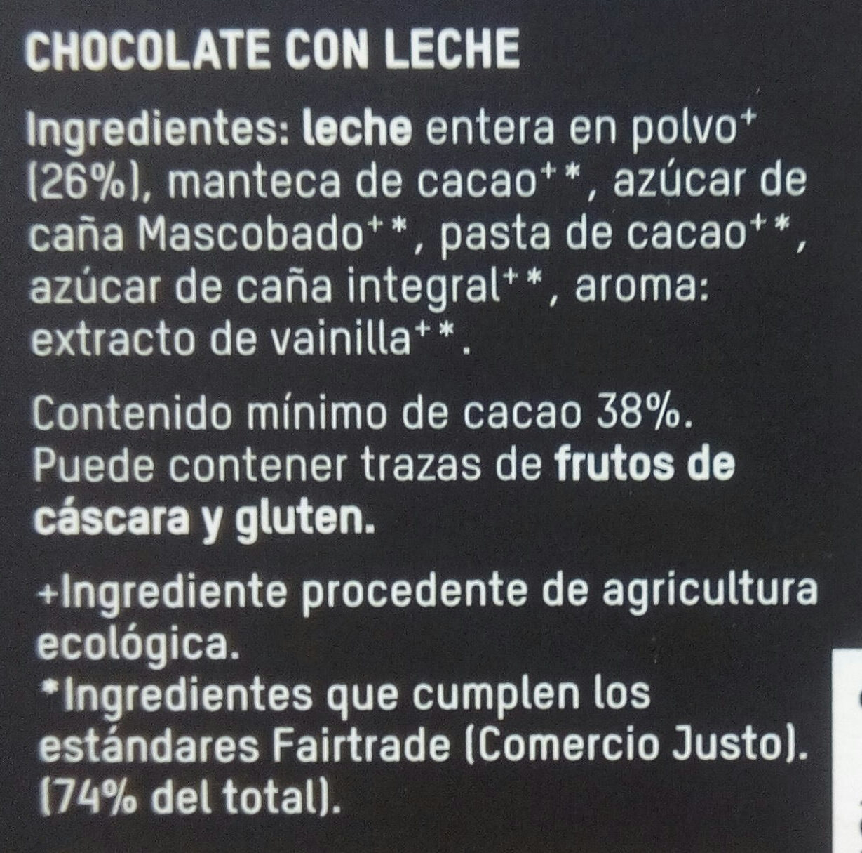 Chocolate con leche - Ingredientes - es
