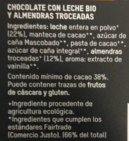 Chocolate con leche bio Almendras troceadas - Ingredientes - es
