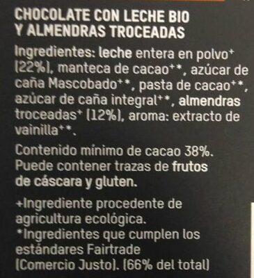 Chocolate con leche bio Almendras troceadas - Ingredientes