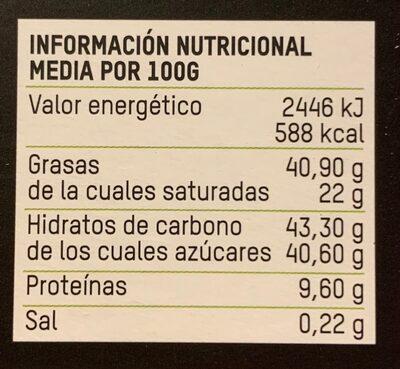 Chocolate con leche bio Almendras troceadas - Información nutricional - es