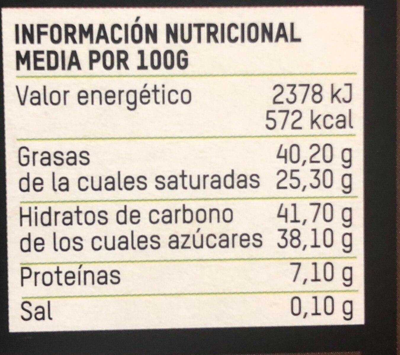 Chocolate negro bio - Información nutricional - es