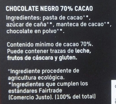 Tierra madre chocolate ecológico negro cacao - Ingredients