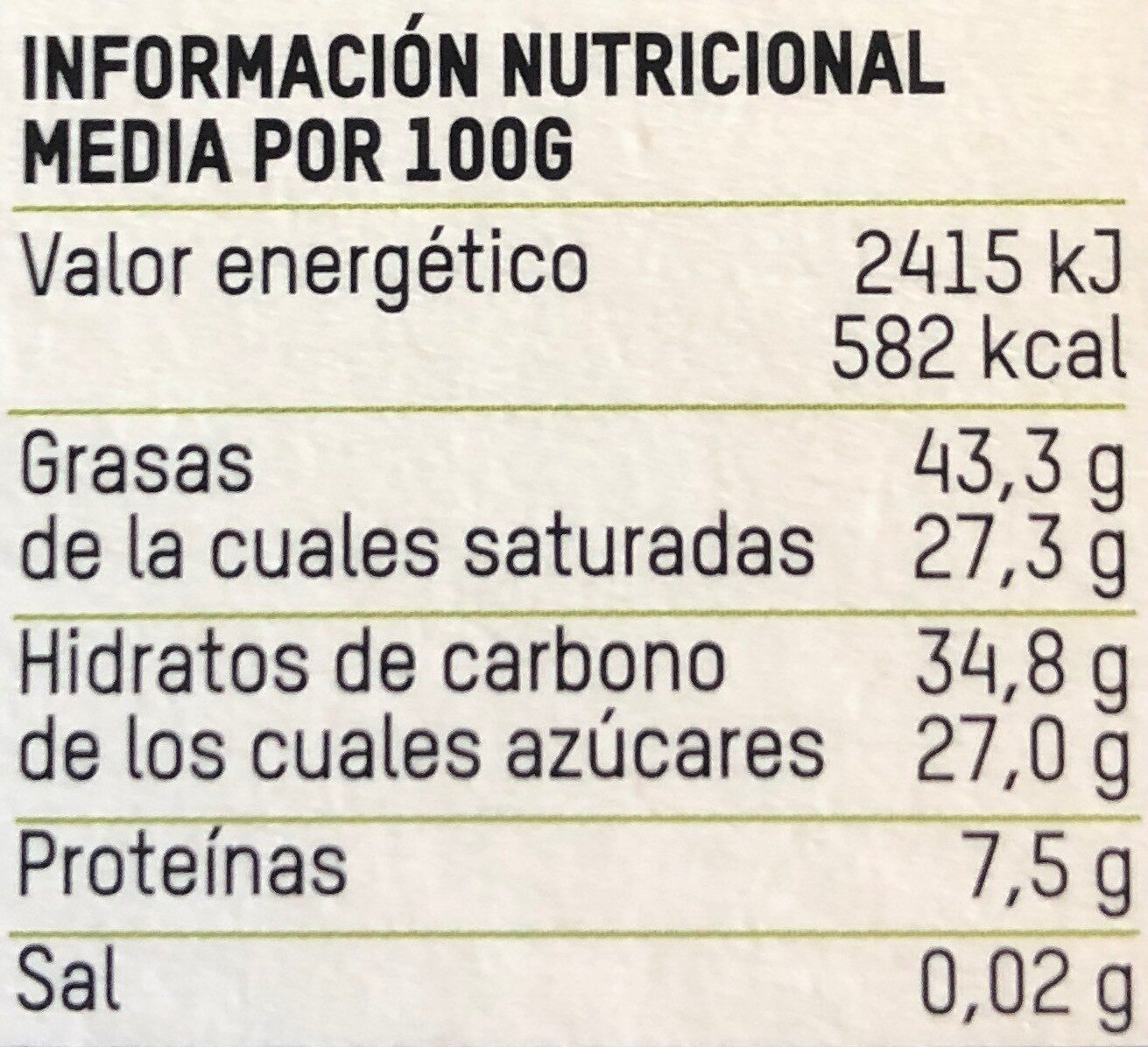 Tierra madre chocolate ecológico negro cacao - Nutrition facts