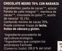 Chocolate Negro 70% BIO Naranja - Ingredients
