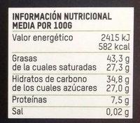 Chocolate Negro 70% BIO Naranja - Informació nutricional