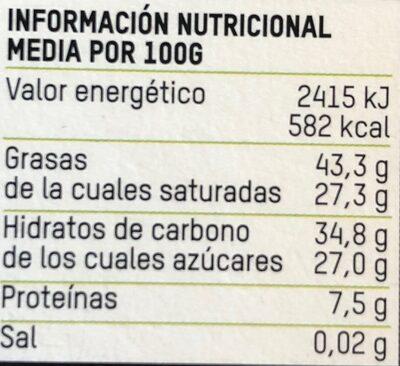 Tierra madre chocolate ecológico negro cacao con naranja - Información nutricional - es