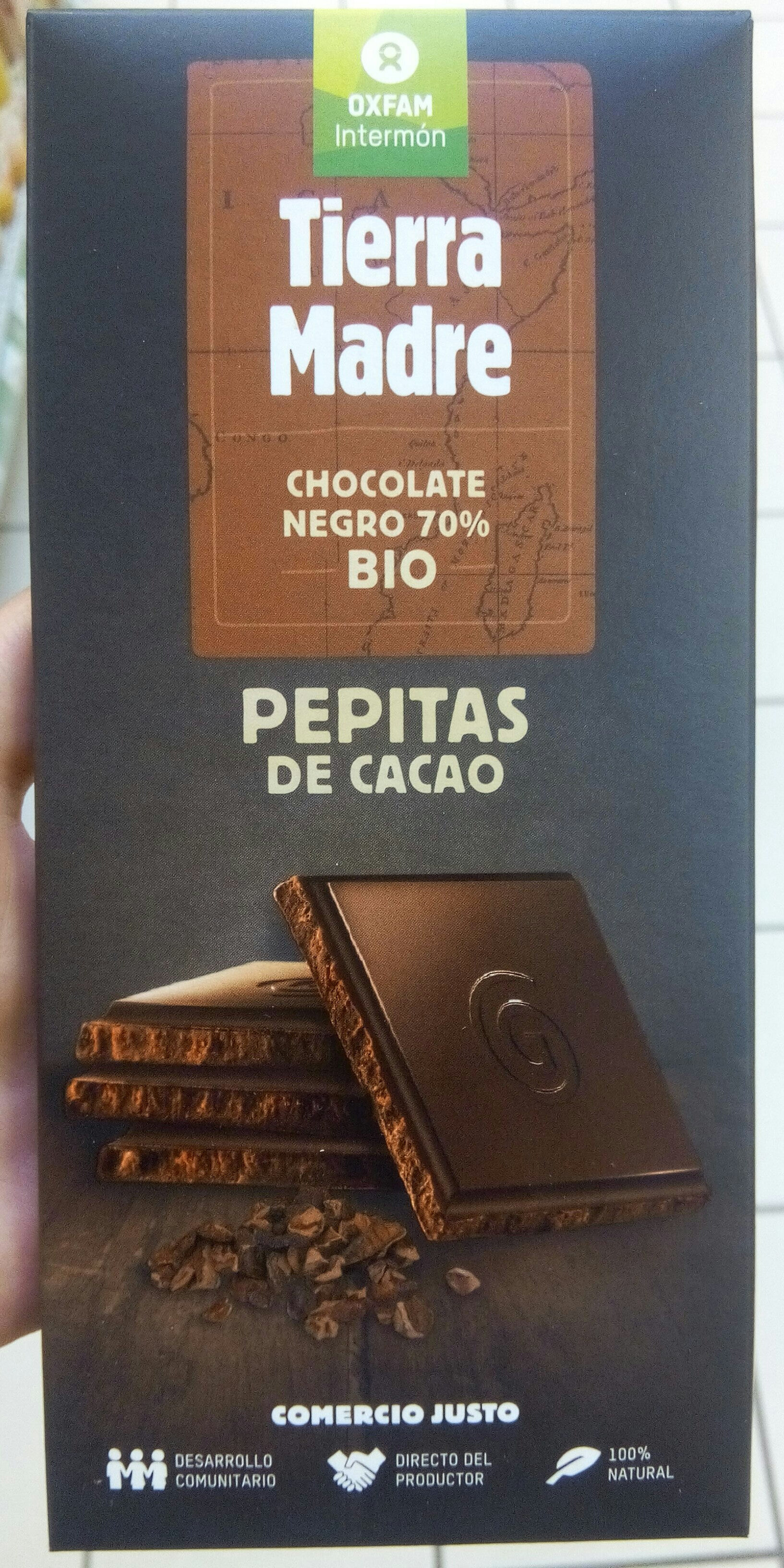 Chocolate negro con pepitas de cacao 70% cacao - Producto