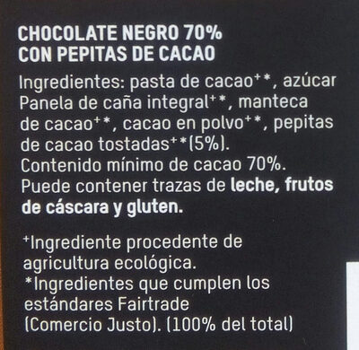 Chocolate negro con pepitas de cacao 70% cacao - Ingrediënten - es