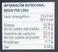 Chocolate negro con pepitas de cacao 70% cacao - Información nutricional