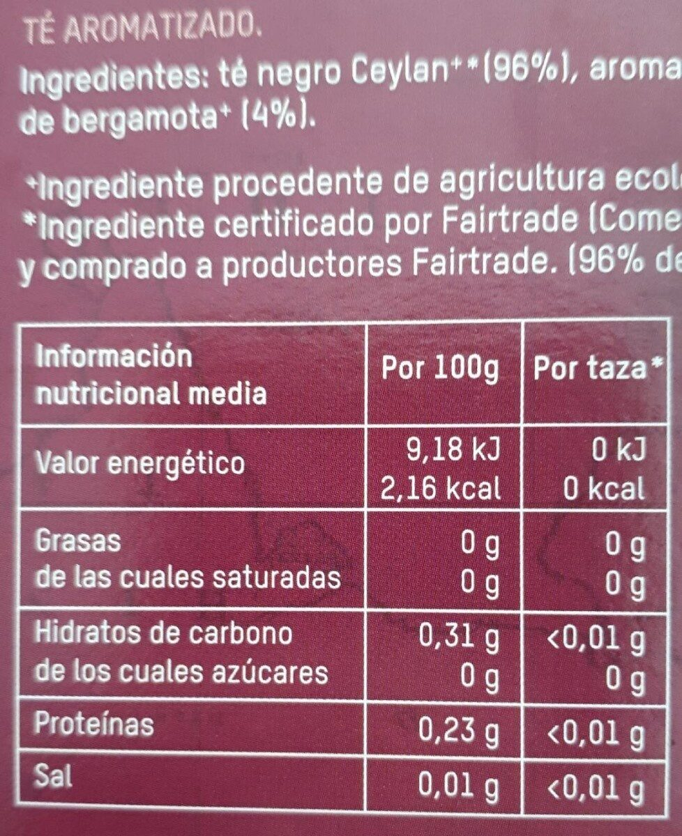 Tierra madre té earl grey bio - Nutrition facts